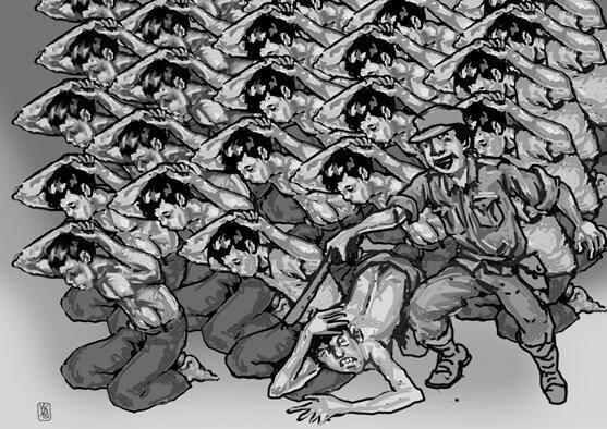 Mereka Dibunuh Secara Simultan Oleh Aparat Berseragam -- [ilustrasi oleh Yayak Yatnaka]